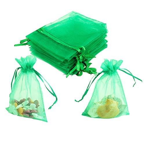 - Smozer Sheer Organza Bags, 100pcs 4x6 inch Sheer Organza Wedding Party Favor Gift Jewelry Beads Candy Pouch Bag (Green)