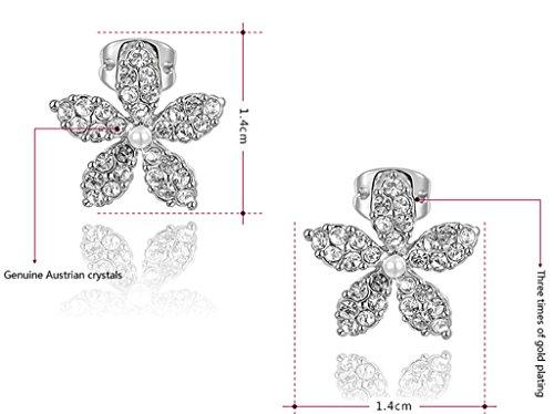 Epink, Femmes Boucles D'Oreilles Plaqu¨¦ Or Ronde Cz Cubique Or Blanc Fleur Forme 1.4*1.4Cm