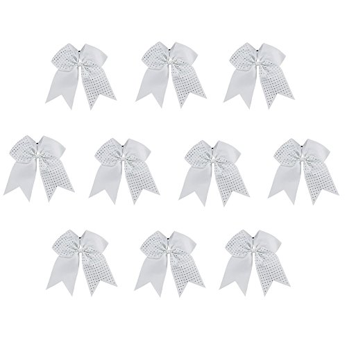 CN 10pcs 7 Inch Girls Big Hair Bow Rhinestone Cheerleading Hair Bow Attached Elastic Hair Tie for Cheerleader
