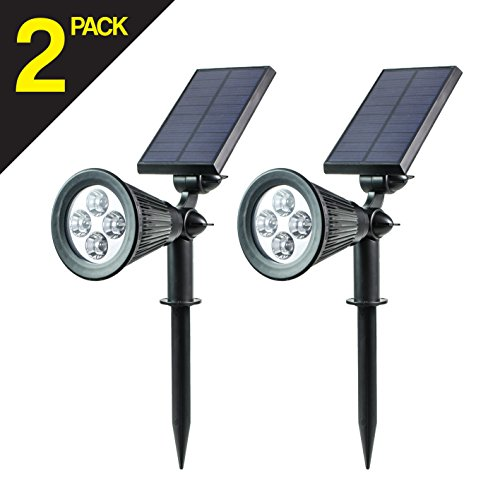 Led Solar Spotlights , Garden Waterpro of 4 LED Solar Light Adjustable Outdoor Wall Lights for Garden, Patio, Path, Landscape (2 pack)