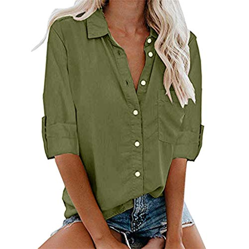 aihihe Plus Size Shirts for Womens Long Sleeve Button Down T-Shirts V Neck Collared Solids Blouse Tops with Pockets(Army Green,XXL(US:16)) -