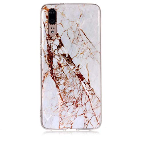 for Huawei P20 Marble Case with Screen Protector,Unique Pattern Design Skin Ultra Thin Slim Fit Soft Gel Silicone Case,QFFUN Shockproof Anti-Scratch Protective Back Cover - White by QFFUN (Image #1)