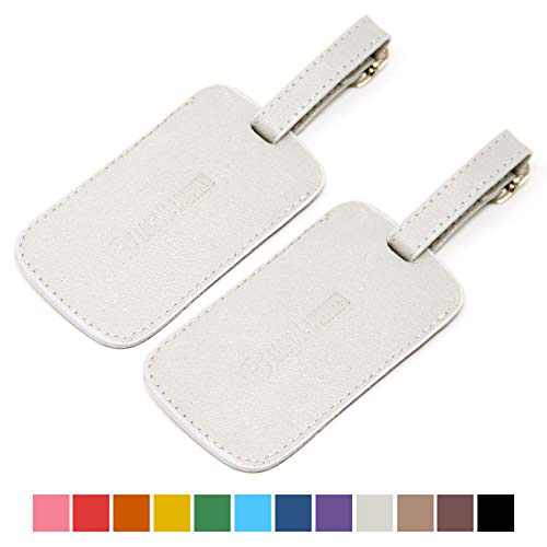 Logical Leather Luggage Tag Genuine Leather Travel ID Tags with Adjustable Leather Strap, Address Card and Privacy Cover, White, Set of 2