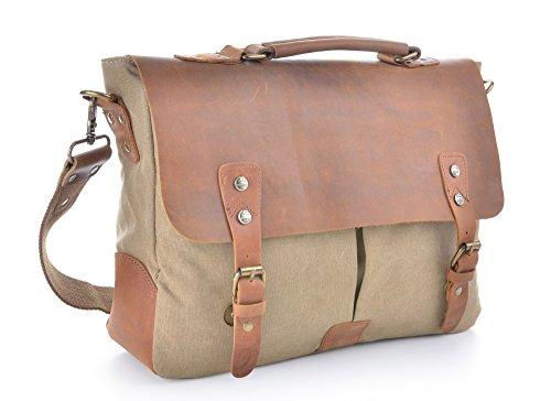 Vintage Inches 14 Shoulder Leather Canvas Grey Gootium Messenger Bag Khaki Men's Laptop 1w6AqB