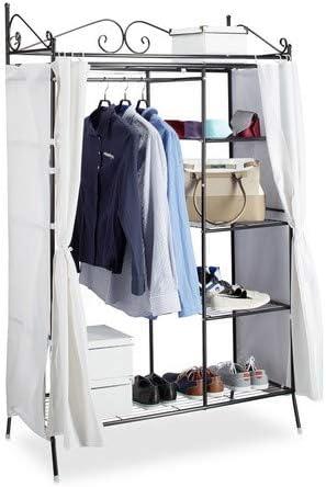 cooler Garderobenständer Metall Garderobe COUNTRY Kleiderschrank mit Stoffbezug