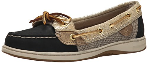 Sperry Top-Sider Womens Angelfish Metallic Python Boat Shoe BlackGold 8 M US
