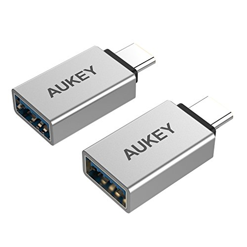 AUKEY USB C to USB 3.0 Adapter, [2 Pack] Mini USB Type C Adapter Aluminum for MacBook Pro, Google Chromebook, Galaxy Note 9 S9 S8 S8+ Note8, Google Pixel 2 XL, LG G5 V20 (Silver)