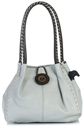 Z mujer Grade Shop Big Claro para 2 Gris Pu Bolso al Handbag sintético hombro One de q8Bwvq
