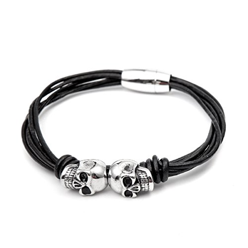 ICONIC Men's Leather Rope Bracelet Silver Plated Stainless Steel Bracelet with Two Skull Charms by ICONIC