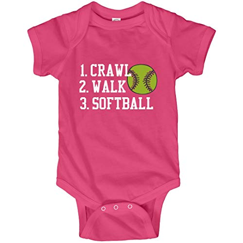 (Customized Girl Crawl, Walk, Softball: Infant Bodysuit Hot Pink)