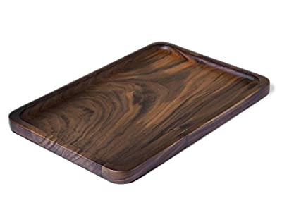 Serving Tray,Jaminer Black Walnut Wood Plate Rectangular Tray,Food & Fruit Plate,Kitchen Serveware Dining Accessory,Breakfast Coffee Table Tray,Butler Serving Tray