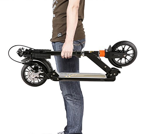 Kaluo Foldable 3 Levels Adjustable Height Kick Scooter with Hand Brake (Black)