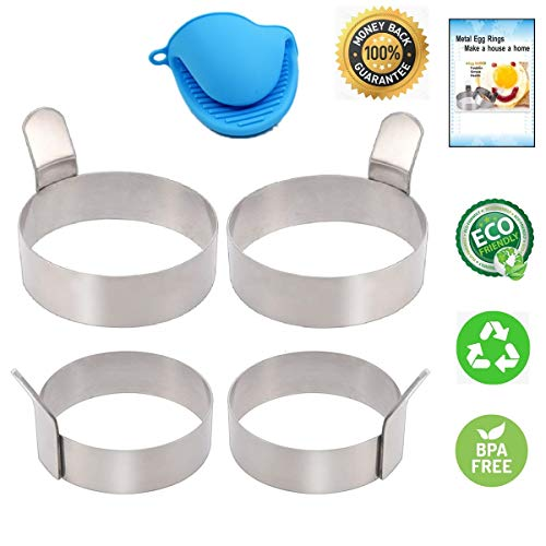 Egg Ring 2 Size Pancake Mold, 4 Packs Egg Cooking Rings with Free Oven Glove, Stainless Steel Non Stick Omelet Mold Cooking Tool - 3.5 Inch & 3.0 Inch