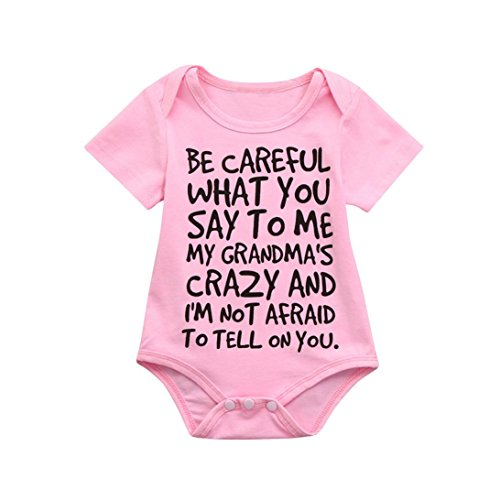 (Clearance Sale 0-24 Months Newborn Infant Baby Kids Girl Boy Letter Print Romper Jumpsuit Sunsuit Outfits Clothes (Pink, 0-6)