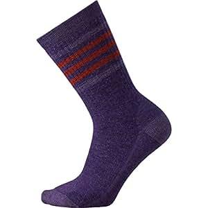 Smartwool Women's Striped Hike Medium Crew Mountain Purple Socks LG (Women's Shoe 10-12.5)