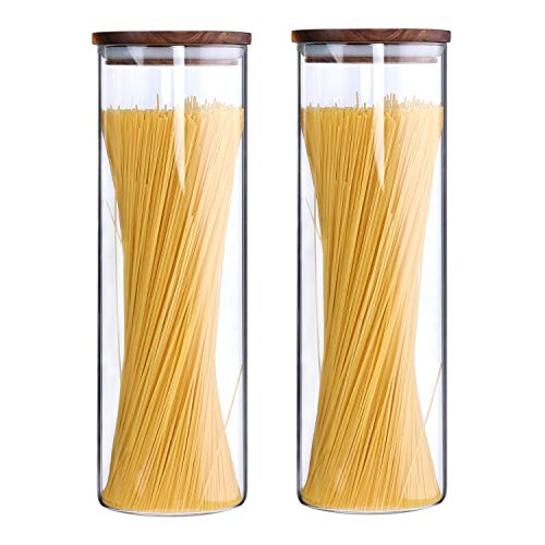 - Clear Glass Canisters Set For The Kitchen Tall Glass Jars Containers With Airtight Wood Lids Spaghetti Pasta Canisters Cookie Jars Noddle Cereal Dry Goods Storage Containers 63Floz 2 Piece Set