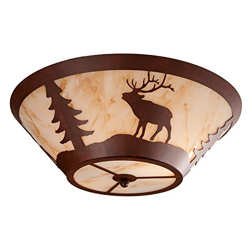 (Steel Partners Lighting 2530-R-B ELK Round Drop Ceiling Mount with Amber Mica Lens, Black Finish)