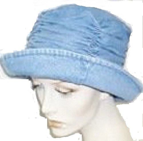 Denim Hat with Gathered Crown
