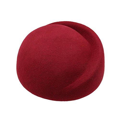 HATsanity Women's Vendimia Textura de lana Suave Mitad Sombrerería Pillbox Borgoña