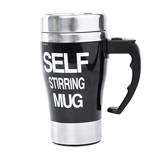 Wooboo Self Stirring Coffee Mug, Automatic Electric Battery Powered Stainless Steel Cup, Tea and Beverage Self Mixing Cup for Morning, Office, Travelling (Black)