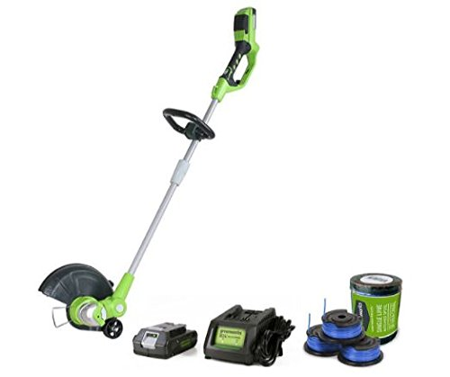 Greenworks 12'' StRING Trimmer, 3-pc Spool, Battery & Charger by Greenwork's