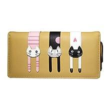 Nawoshow Women Cute Cat Wallet Long Bifold Purse with Zipper (Brown)