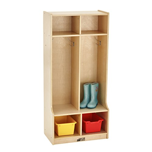 ECR4Kids Birch 2-Section Coat Locker with Bench, Natural