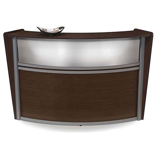 Scranton & Co Plexi Single Unit Curved Reception Station in Walnut
