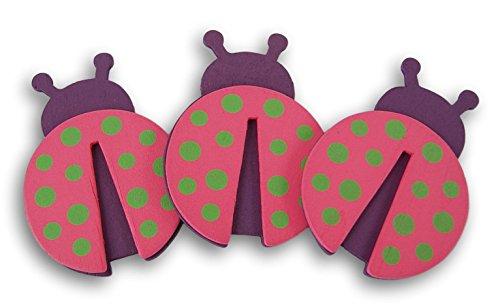 Natural Wood Painted Pink Ladybug Cutouts - Set of 3-4 x 2.75 ()