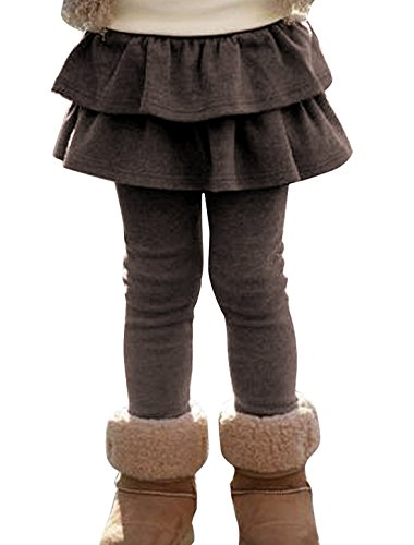 (ZIYOYOR Kids Girls Elastic Waist Fleece Lined Leggings with Ruffle Tutu Skirt (6T, Coffee))