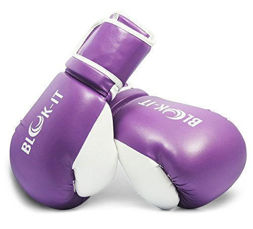 Boxing Gloves by Blok-IT – Pro Boxing Gloves With The Easy On/Easy Off Velcro Strap (Purple, 14oz) (Box Fit Boxing Gloves)