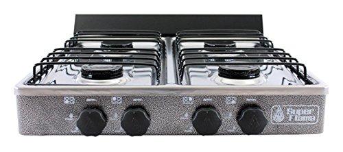 Super Flama 4Q-CA-G Estufa de Gas de 4 Quemadores con Cubierta de Acero Inoxidable y Cuerpo de Lámina Pintada, color Gris...