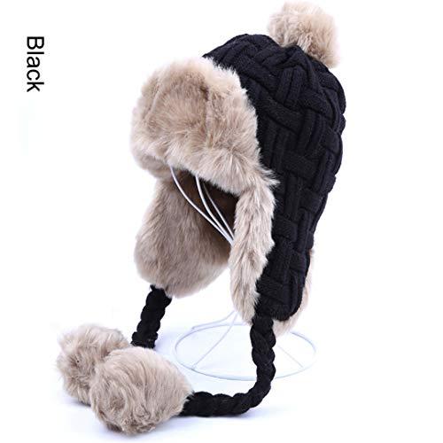 - LKIUYN Women Trapper Hats Winter Warm Faux Fox Fur Hat Russian Wool Knit Earflaps Aviator Caps Black One Size