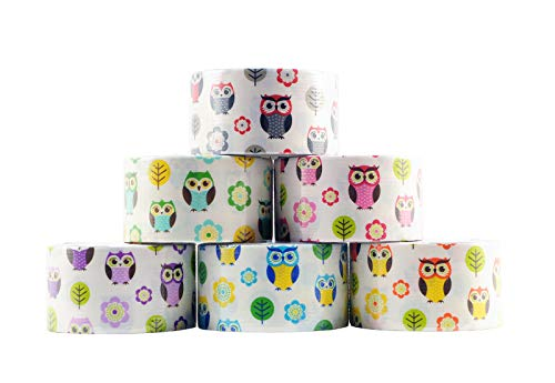 6 Roll Variety Pack of Decorative Duct Style Tape, Owl Tape, Each Roll 1.88 Inch x 5 Yards, Ideal for Scrapbooking - Decorating - Signage (6-Pack, Owls) ()