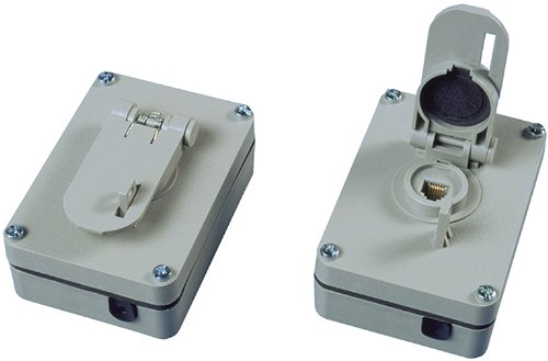 Allen Tel Products AT625WP 1 Port, USOC Wiring, 6 Position, 6 Conductor Outdoor Weather Resistant Surface Mounted Outlet Jack, Gray