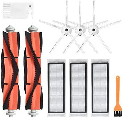 5-arm Side brushes 3*Filters 2*Main Brushes 1*Yellow Brush 1*White Brush 10pcs Replacements for Xiaomi Roborock Xiaowa Vacuum Cleaner Parts Accessories 3