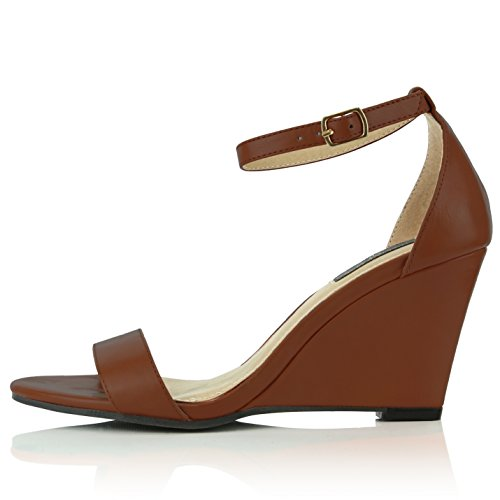 DailyShoes Wedge Toe Ankle Shoes Open Brown Fashion Pu Women's rBIRwr