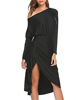 Zeagoo Women's One Shoulder Side Slit Party Prom Cocktail Dresses
