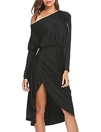Womens One Shoulder Side Slit Party Prom Cocktail Dresses