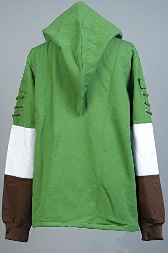 Ya-cos The Legend of Zelda Link Hooded Coat Sweatshirt with Minish Cap Costume Green by Ya-cos (Image #3)