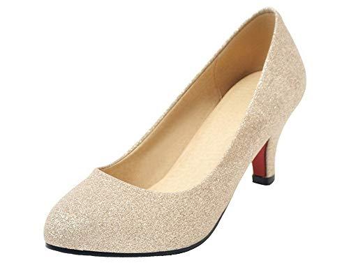 PU Chaussures Doré Cuir Correct AgooLar Couleur Légeres Unie GMBDB013246 Talon Rond Femme à a5qWqz7