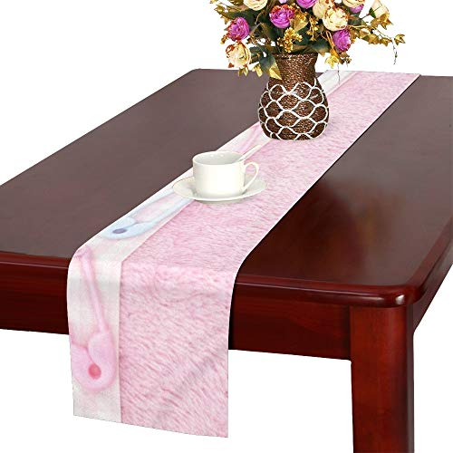 NQEONR Old Fashion Pink Baby Baby Table Runner, Kitchen Dining Table Runner 16 X 72 Inch for Dinner Parties, Events, Decor