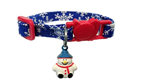Snowflake Cat - SunflowerBees Christmas Holiday Blue Snowflake Cat Collar with Snowman Bell Breakaway for Safety