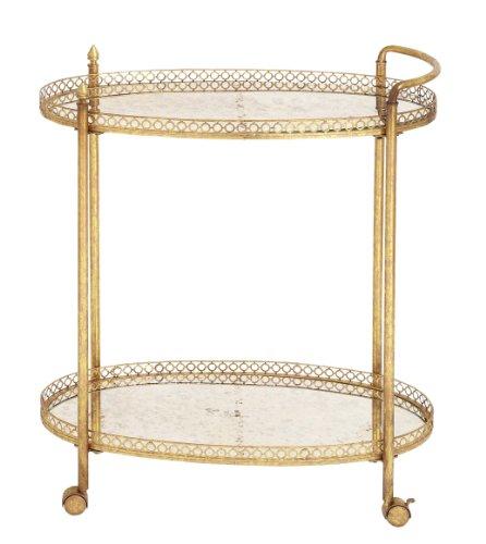 Deco 79 Metal Glass Tea Cart, 30 by 35-Inch