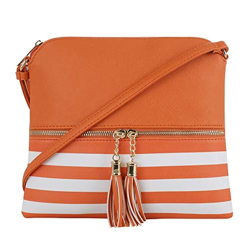 SG SUGU Lightweight Medium Crossbody Bag with Tassel and Zipper Pocket (XB Orange)