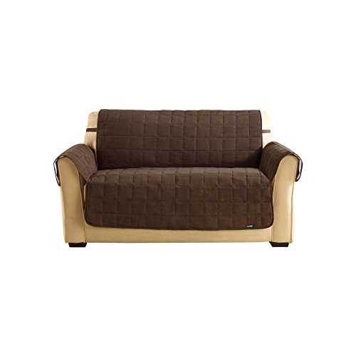 Sure Fit Soft Suede Waterproof - Loveseat Slipcover  - Chocolate (SF40896) (Sectional Surefit)
