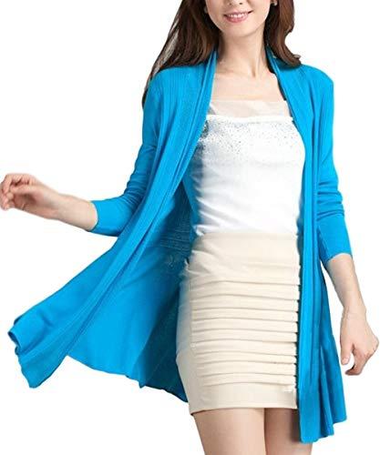 Blue-D(ブルーディー) ロング ニット カーディガン UVカット 冷房対策 羽織 レディース Aライン