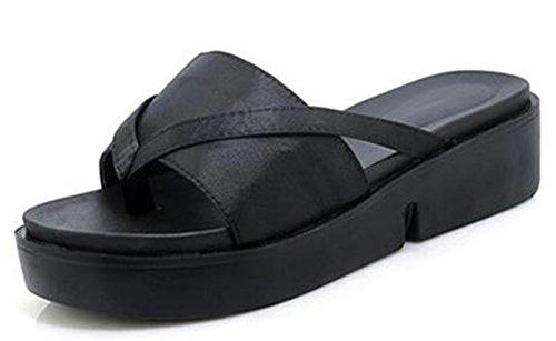 Easemax Womens Comfy Mid Wedge Heels Platform Thong Flip Flops Black