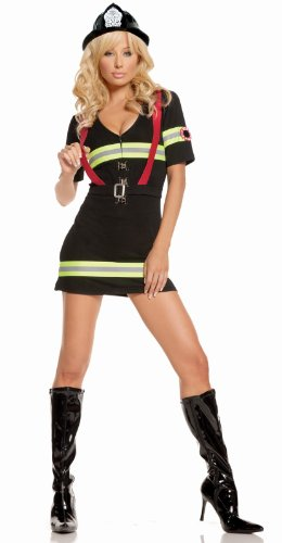 Elegant Moments Women's Ms.Blazin Hot, Black, Small - Womens Firefighter Halloween Costume