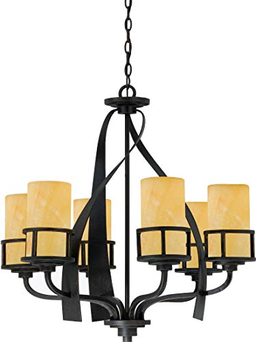 Quoizel KY5006IB Kyle Faux Alabaster Chandelier, 6-Light, 600 Watts, Imperial Bronze (28